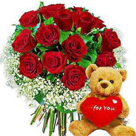 Bear sending flowers