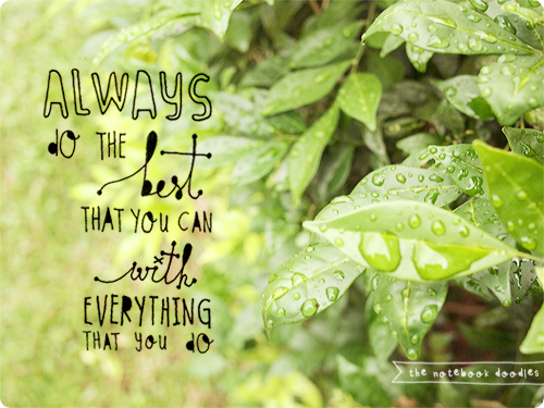 Always do the best that you can with everything that you Do. - Life Hack Quote