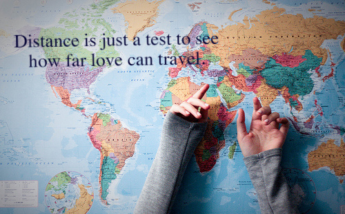 Motivational Quote : Distance is just a test to see how far love can Travel.