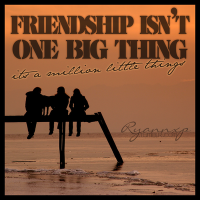 Friendship Is Not One Big Thing  ~ Friendship Quote