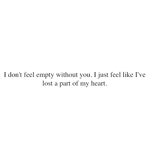 Fact Quote - I don't feel empty without you.