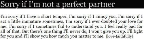 I'm sorry if m not a perfect partner. - Love Quote