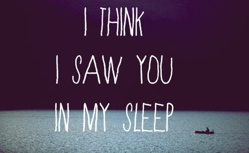 I think I Saw You In My Sleep : Dream Quote