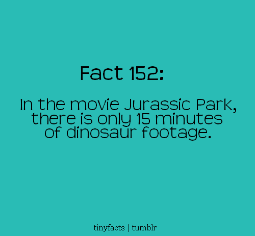 In the movie jurassic Park : Fact Quote