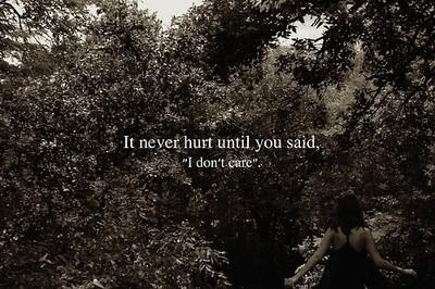 It never hurt until u said.I do not care