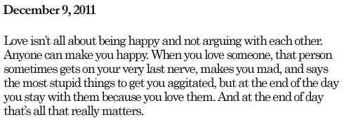 Love Quote : Love isn't all about being happy.