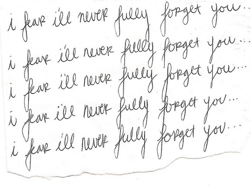 I fear i'll never fully forget you. : Love Quote