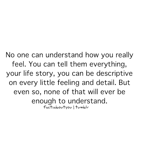 Fact Quote - No one can understand how you really feel.