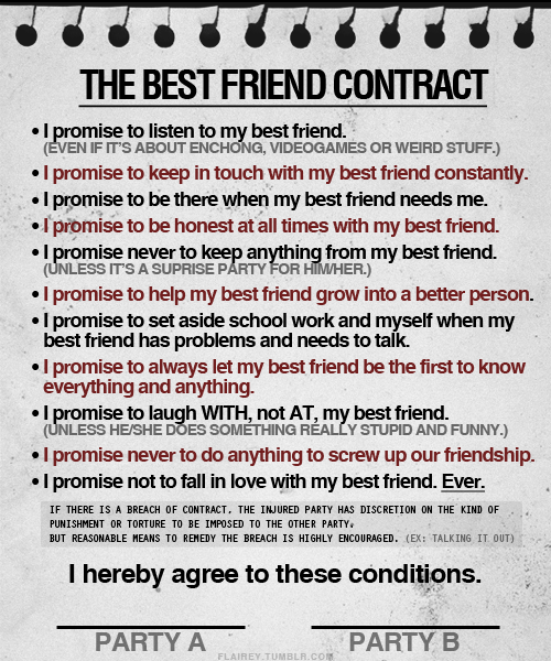 The Best Friend Contract ~ Best Friendship Quote
