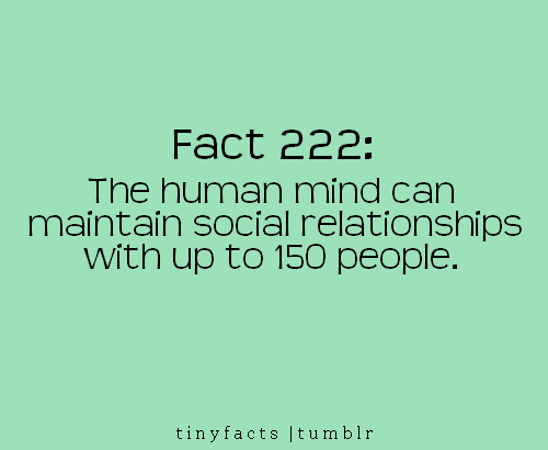 Fact Quote ~ The human mind can maintain social relationships with…