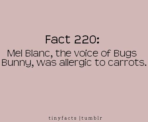 Fact Quote : Mel Blanc , the voice of Bugs Bunny, was allergic to carrots.
