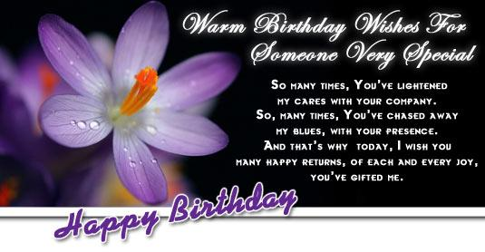 Warm Birthday Wishes for Someone Very Special
