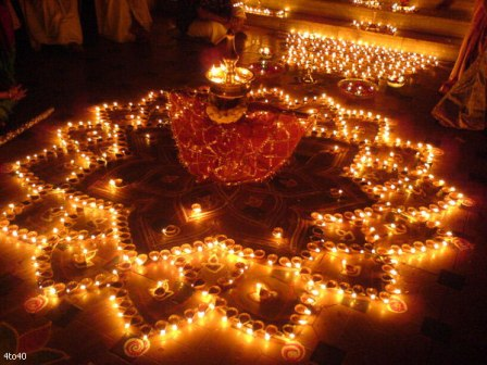 Diwali Lamps Rangoli Graphic for Facebook share