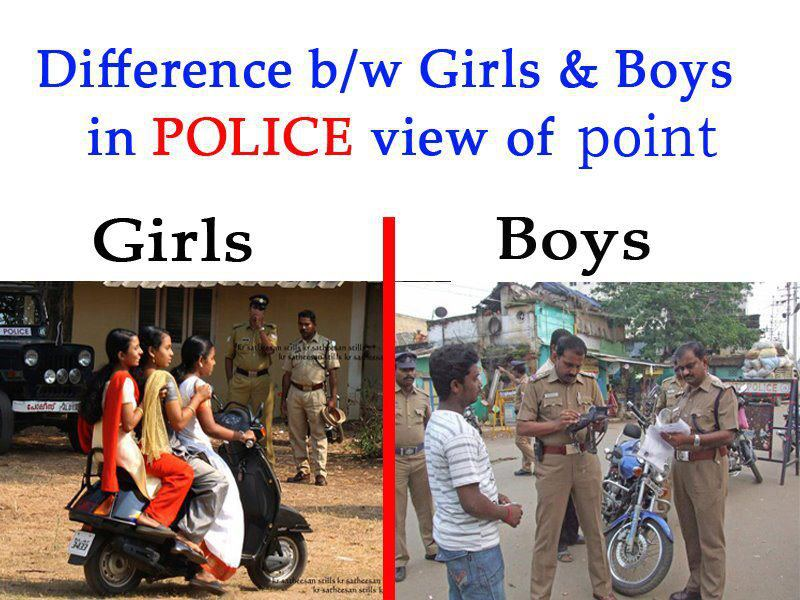 Difference Between Girls & Boys in Police View of Point