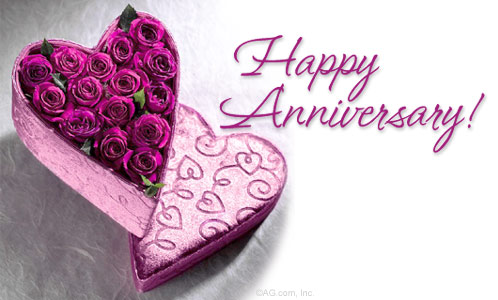 Happy Anniversary Heart with Roses Graphic