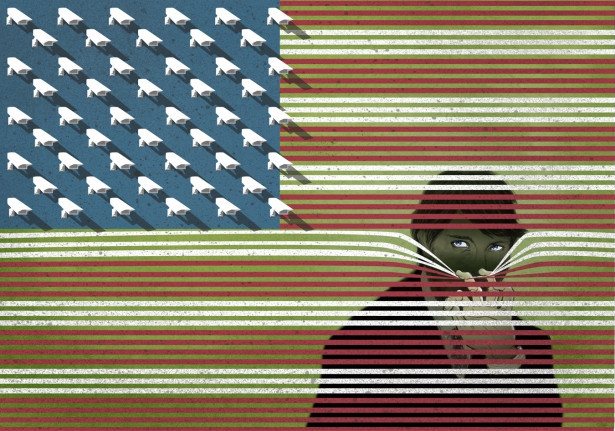 America is watching you Funny Cartoon Image