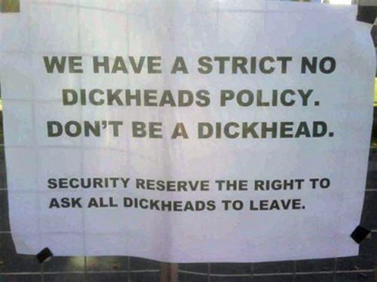 Don't Be A Dickhead Funny Quote Image