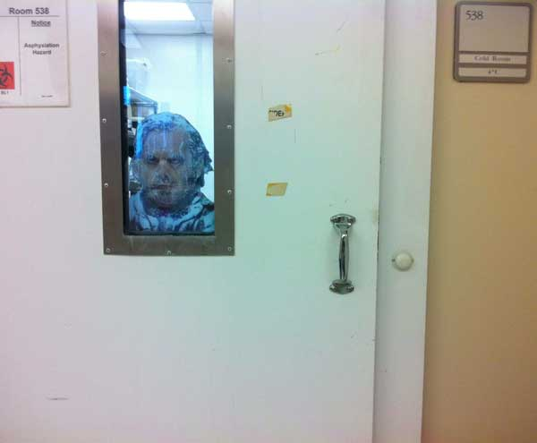 Door to the walk-in cold room in my lab. Heeeeeere's Johny! Funny Men picture