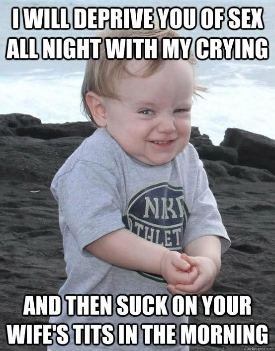 Evil baby strikes again!! Funny Baby Image