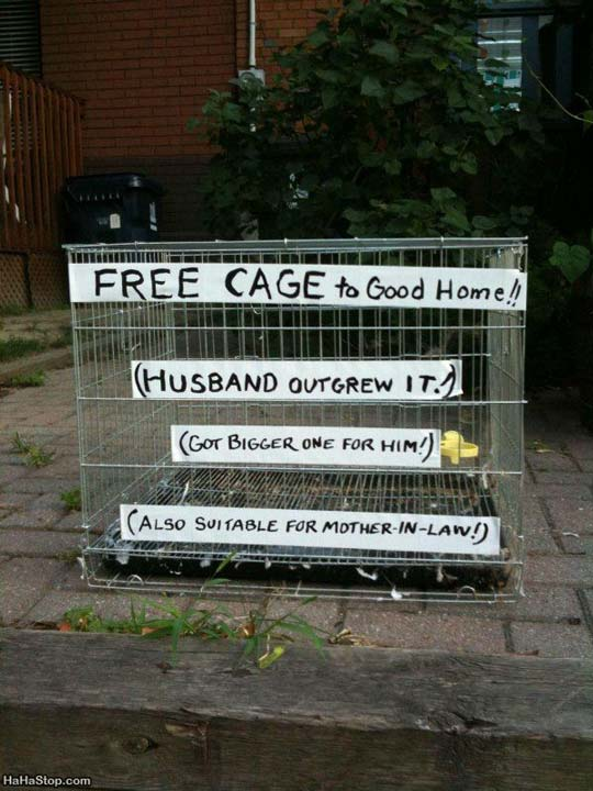 Free Cage Funny Sign Image