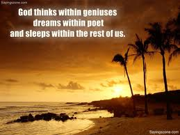 God Thinks Withing Genluses Dreams Within Poet