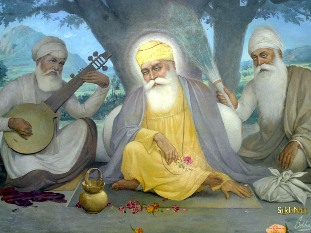 Guru Nanak Dev Ji with Bala and Mardana