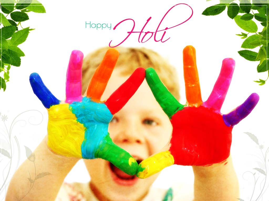 Happy Holi Hands Coverd with Colours