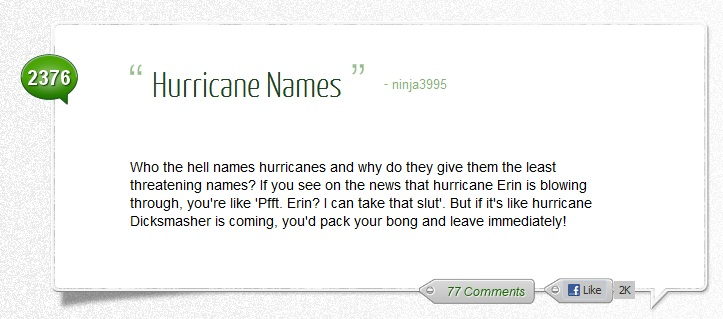 Hurricane Names Funny Quote Picture