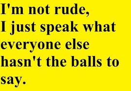I am not Rude I just Speak what Everyone Hasn't the Balls to Say