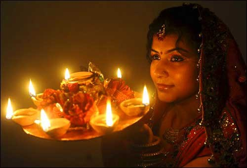 Karva Chauth Pooja thali with Lady