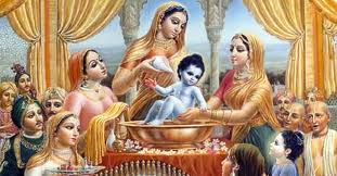 Lord Krishna Bathing Picture