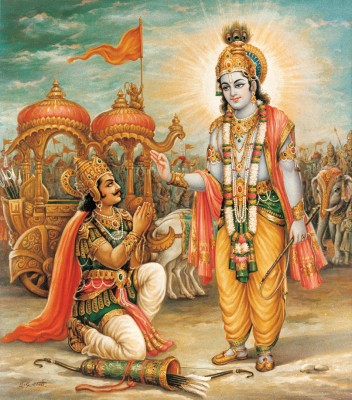 Lord Krishna Giving Divine Message of Gita to Arjun
