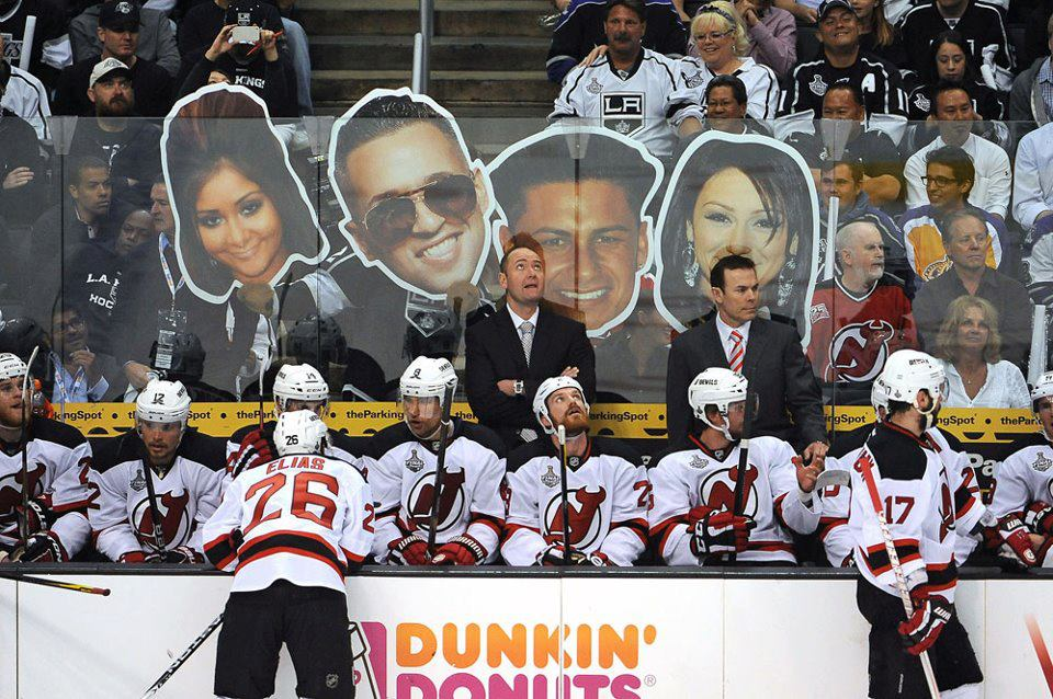 Los Angeles making the New Jersey Devils feel right at home. Funny People Picture