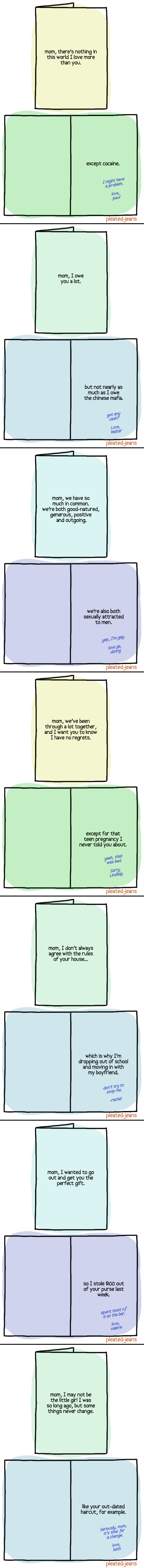 Mother's Day confession cards Funny Chat Conversation Picture