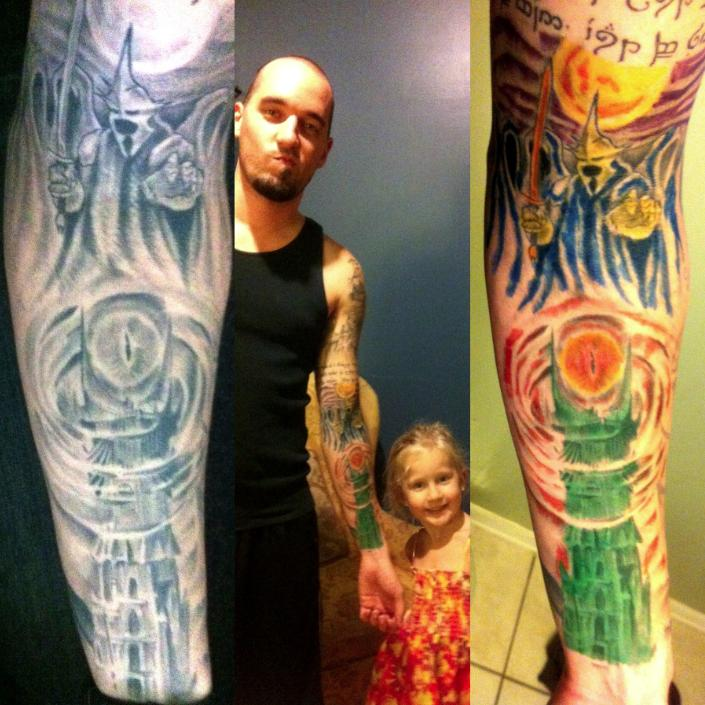 My daughter's new hobby coloring in my tattoos Funny Men picture