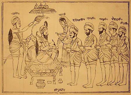 Old Picture of Guru Gobind Singh and Panj Pyare on Baisakhi