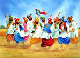 Punjabi boys Doing Bhangra on Baisakhi