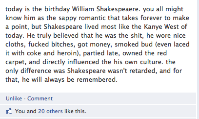 Shakespeare's birthday facebook gem Funny Quote Picture