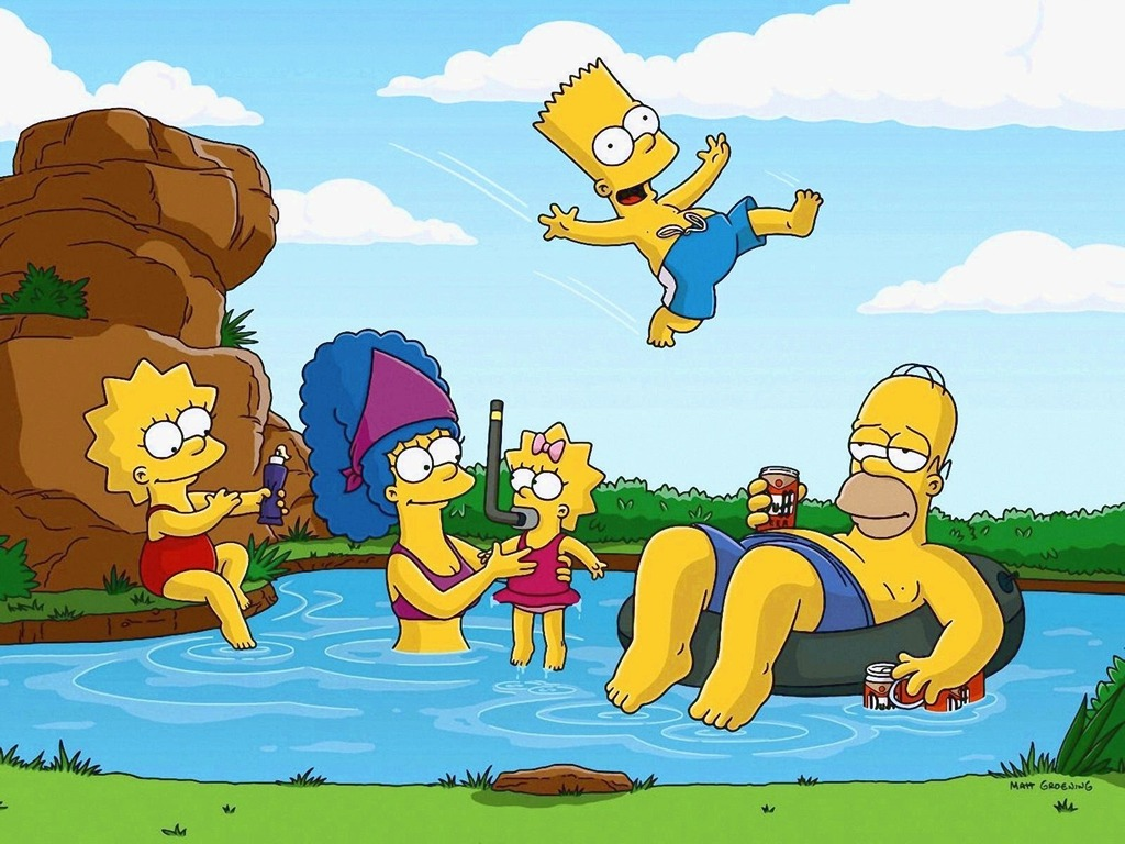 Simpsons Playing in Pond