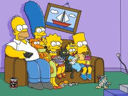 Simpsons Watching Movie with His Family