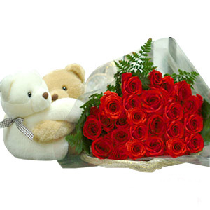 Teddy Bear with Red Roses Picture